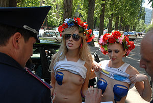 "Human rights in Ukraine - Image: FEMEN ""Blue Bucket"" topless protest 4"