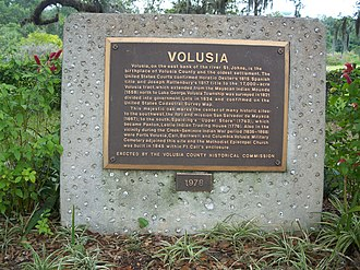 Volusia, Florida - Historic Plaque in Volusia