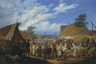 Ukrainians - Traditional village fair in Ukraine, 19th century.