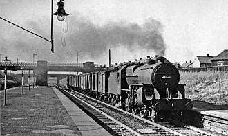 Farington railway station - A freight train passing through in 1957