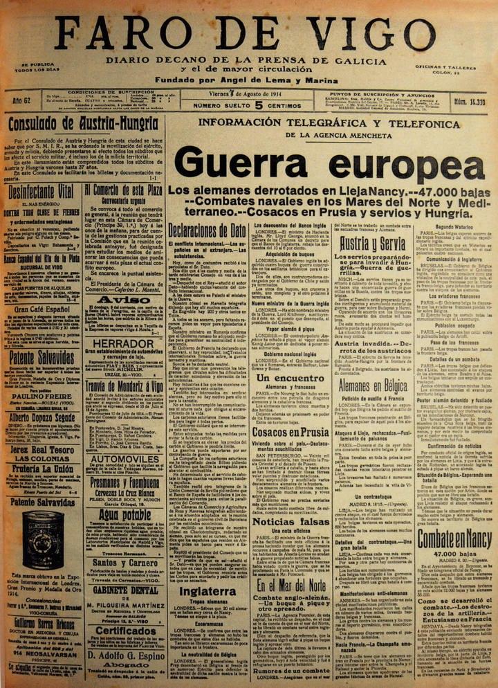 Faro de Vigo, 1914, agosto