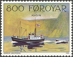 Faroe stamp 224 old postal vessels - masin.jpg