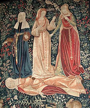 "Millefleur - Tapestry ""The Triumph of Death, or the Three Fates"" with a typical mille-fleurs background, Flemish, c. 1510–20."