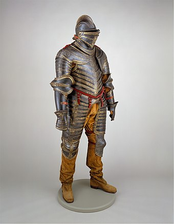 Henry's Italian-made suit of armour, c. 1544. Metropolitan Museum of Art, New York Field Armor of King Henry VIII of England (reigned 1509-47) MET DT205963.jpg
