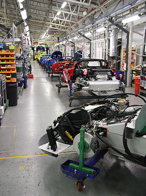 Assembly line - Lotus Cars assembly line as of 2008