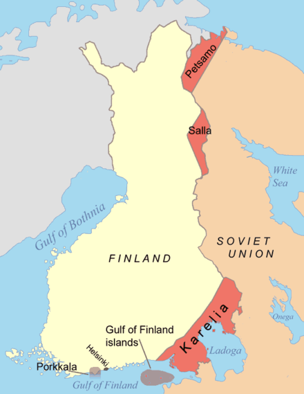 Areas ceded by Finland to the Soviet Union after World War II. The Porkkala land lease was returned to Finland in 1956 Finnish areas ceded in 1944.png