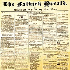 Falkirk Herald - The front page of the first edition of The Falkirk Herald, published on 14 August 1845