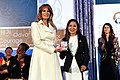 First Lady Melania Trump Poses for a Photo With International Women of Courage Awardee Cindy Arlette Contreras Bautista of Peru (33593821141).jpg