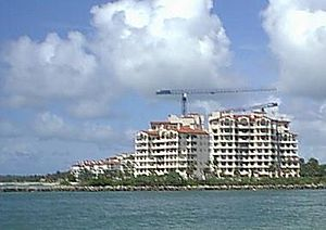 Fisher Island, Florida - Buildings under construction in the summer of 2001