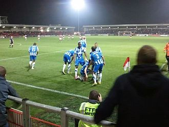 Stockport County F.C. - Stockport County players celebrate a goal in 2011