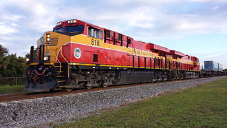 Florida East Coast Railway - An FEC train led by a pair of ES44C4 locomotives in 2015