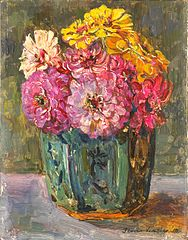 Still Life with Zinnias in a green Jar