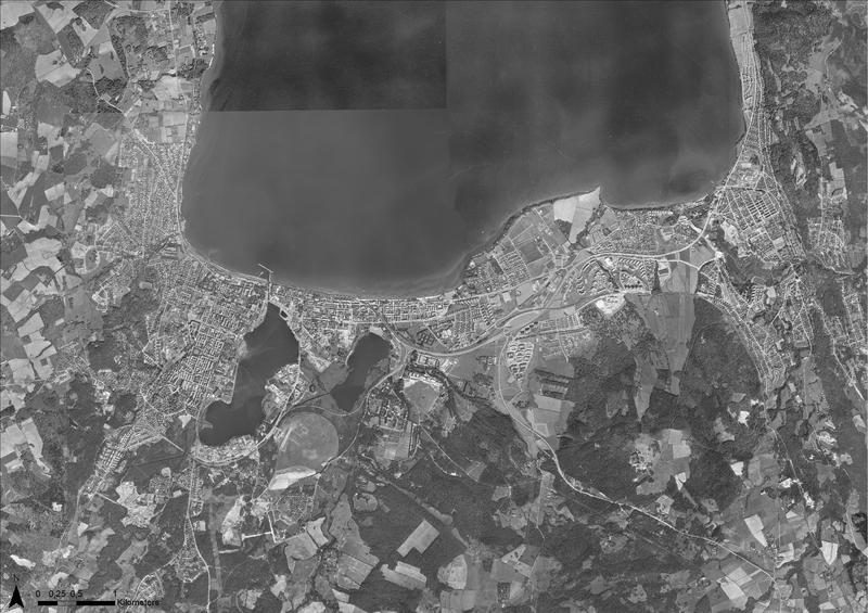 Luftfoto over Jönköping og Huskvarna fra cirka 1960.