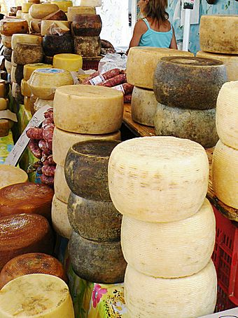 Cheeses and sausages in Alghero's city market - Sardinia