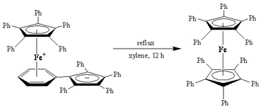 Formation of decaphenylferrocene from its linkage isomer