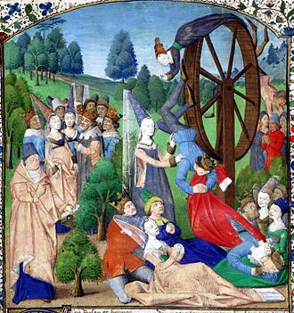 John Kennedy Toole - Fortuna with the Wheel of Fortune from a medieval manuscript of a work by Boccaccio. Fortuna, as interpreted by Boethius in his Consolation of Philosophy, was a favorite subject of Toole's Dunces protagonist Ignatius J. Reilly.