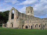 12th century Cistercian abbey (Fountains Abbey, Studley Royal Park ).