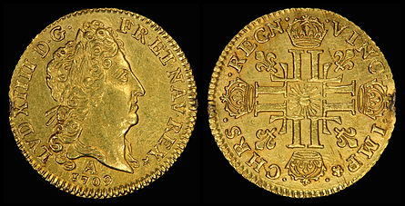 Louis XIV depicted on a Louis d'or in 1709