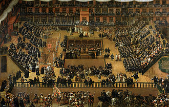 Auto-da-fé - 1683 painting by Francisco Rizi depicting the auto-da-fé held in Plaza Mayor, Madrid in 1680.