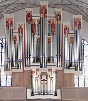 Modern pipe organ in Katharinenkirche, Frankfurt am Main, Germany.