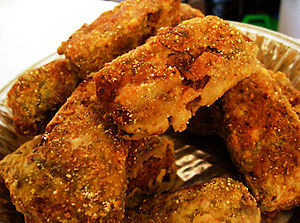 Marinated tempeh fried in flour and salt with ...