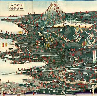 Mount Fuji - Historical illustration of the routes to Mt. Fuji