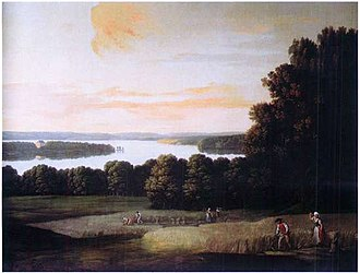 Moltke's Mansion - One of Erik Pauelsen's overdoors, depicting a harvest scene from the Dronninggård estate