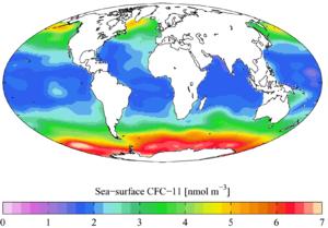 Trichlorofluoromethane - Image: GLODAP sea surf CFC11 A Yool