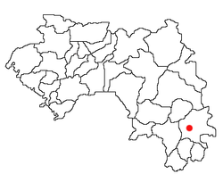 Location of Beyla in Guinea