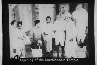 Birla family - Gandhi inaugurating the Laxminarayan Temple, Delhi, 1938, with the Birla family (Jugalkishor, Rameshwardas, Ghanshyamdas in black caps, Baldevdas in turban