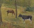 Gauguin Vache et cheval dans un pré.jpg
