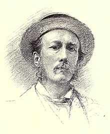 self-portrait sketch of a man with amoustache, sideburns, and a round-brimmed hat