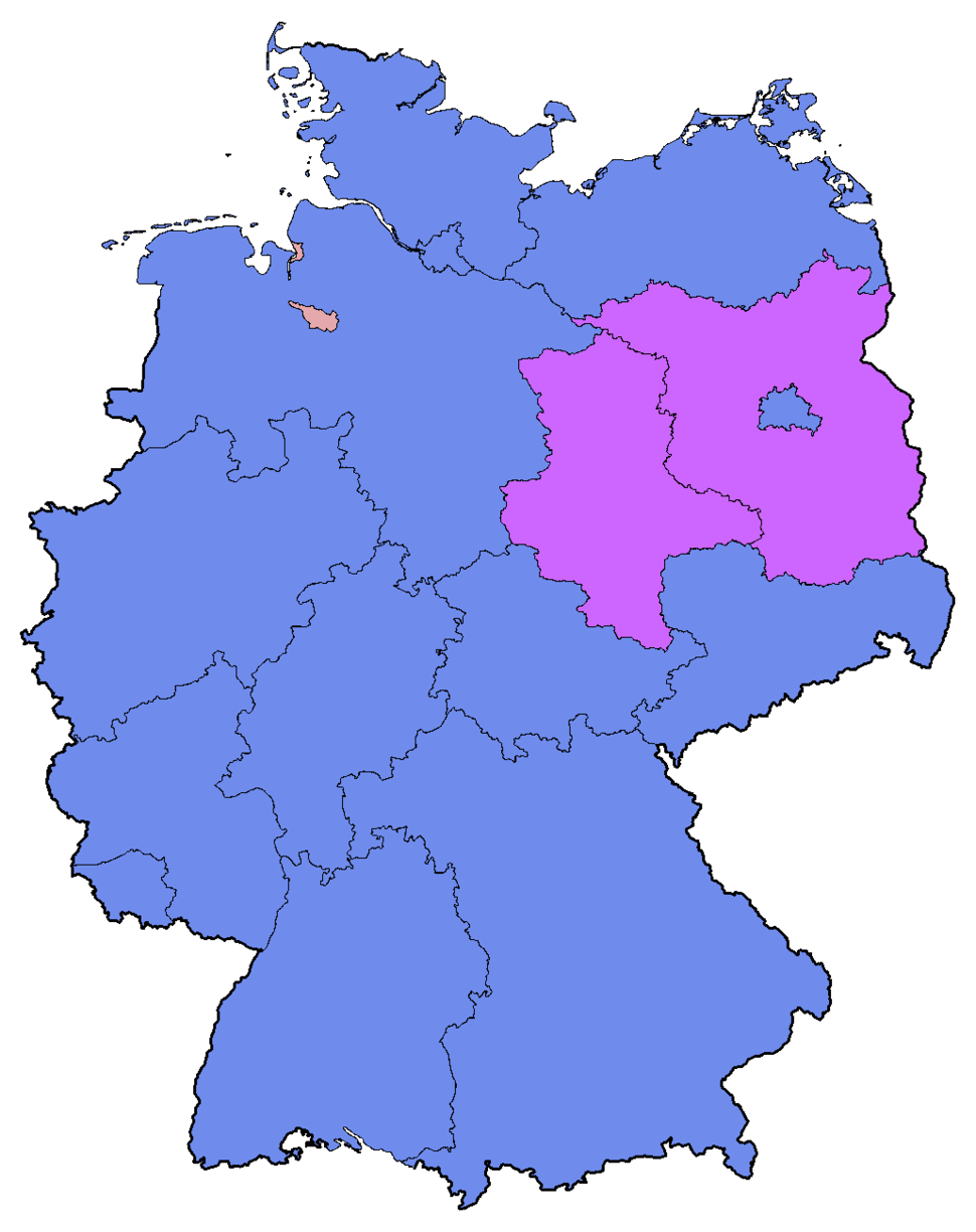 German Federal Election - Party list vote results by state - 2009