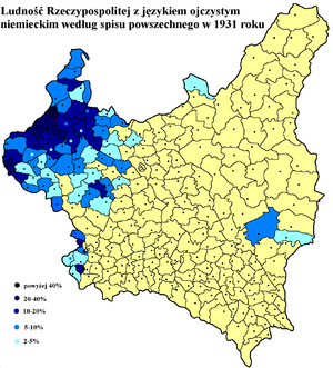 History of the Germans in Poland - German language frequency in Poland based on Polish census of 1931