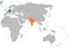 Lage von Deutschland und Indien