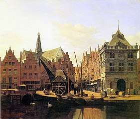 View of the Spaarne with the Waag and Crane, Haarlem