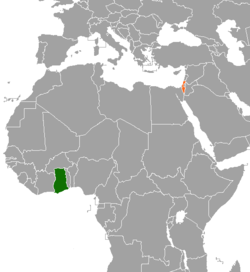 Map indicating locations of Ghana and Israel