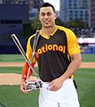 Giancarlo Stanton holds up the T-Mobile -HRDerby trophy. (28447846942).jpg