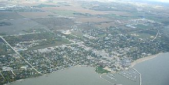 Rural Municipality of Gimli - The community of Gimli in the rural municipality as seen from above.