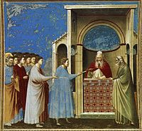 Giotto di Bondone - No. 9 Scenes from the Life of the Virgin - 3. The Bringing of the Rods to the Temple - WGA09181.jpg