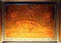 Giovan Francesco Capoferri su dis. di lorenzo lotto, coperta 'maximi certaminis victoria' con fionda di david e catasta d'armi, 1527-30, 01.JPG