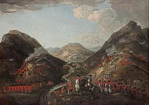 Battle of Glen Shiel - The Battle of Glenshiel 1719 by Peter Tillemans. Spanish troops can be seen in the mid-ground. (1719)