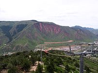View from observation deck of Glenwood Caverns on top of Iron Mountain in Glenwood Springs, Colorado. Tramway visible in foreground.