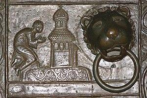 Gniezno Doors - Scene no. 4 from the left door - Adalbert prays before a shrine