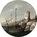 Gottfried Wals - Anlandende Schiffe in einem südlichen Hafen.jpg