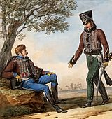 Print of two troopers of the French 2nd Hussars with brown jacket, white lace, and sky blue trousers