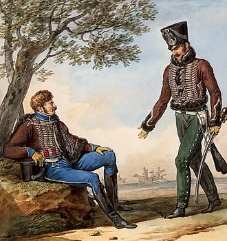François Xavier de Schwarz - 2nd Hussar Regiment in 1812 with colors unchanged since the 1790s