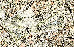 St James's Park - Image: Green Park and St. James's Park London from 1833 Schmollinger map