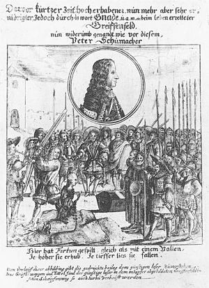 1676 in Denmark - Griffenfeld at the moment when he is pardoned on the scaffold on 5 June, Contemporary illustration