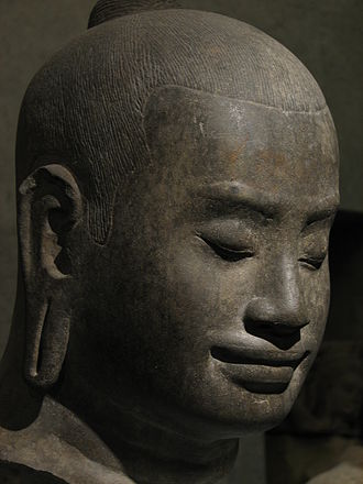 Angkor - Portrait of Jayavarman VII on display at Musee Guimet, Paris